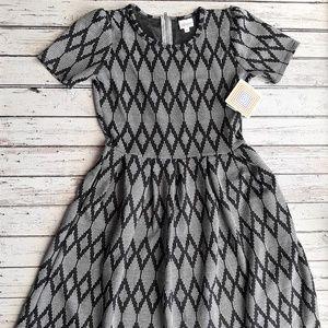 NWT LULAROE Amelia Dress Black and White Diamond M